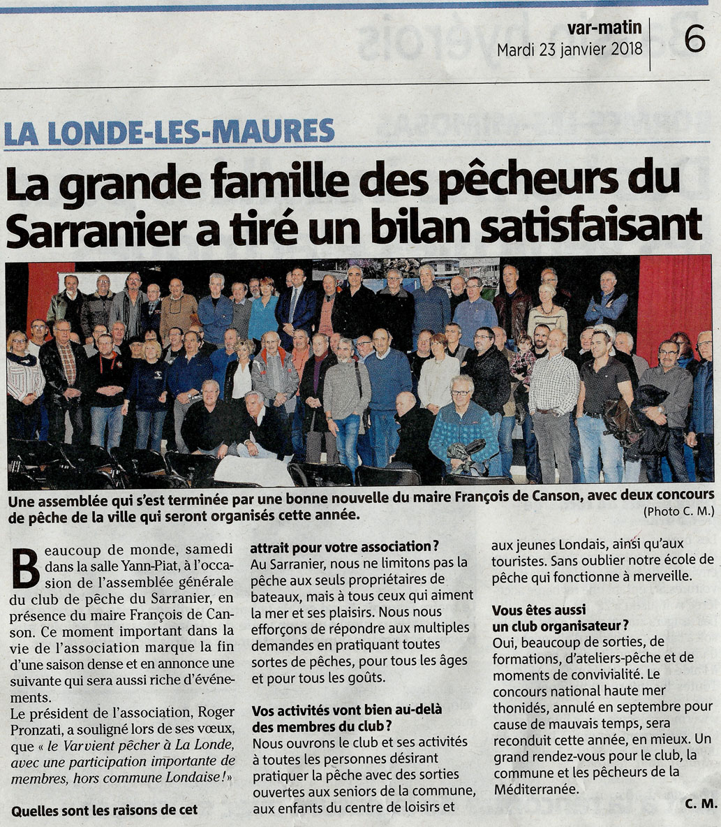 2018 - 01 - 23 - Article de Var matin
