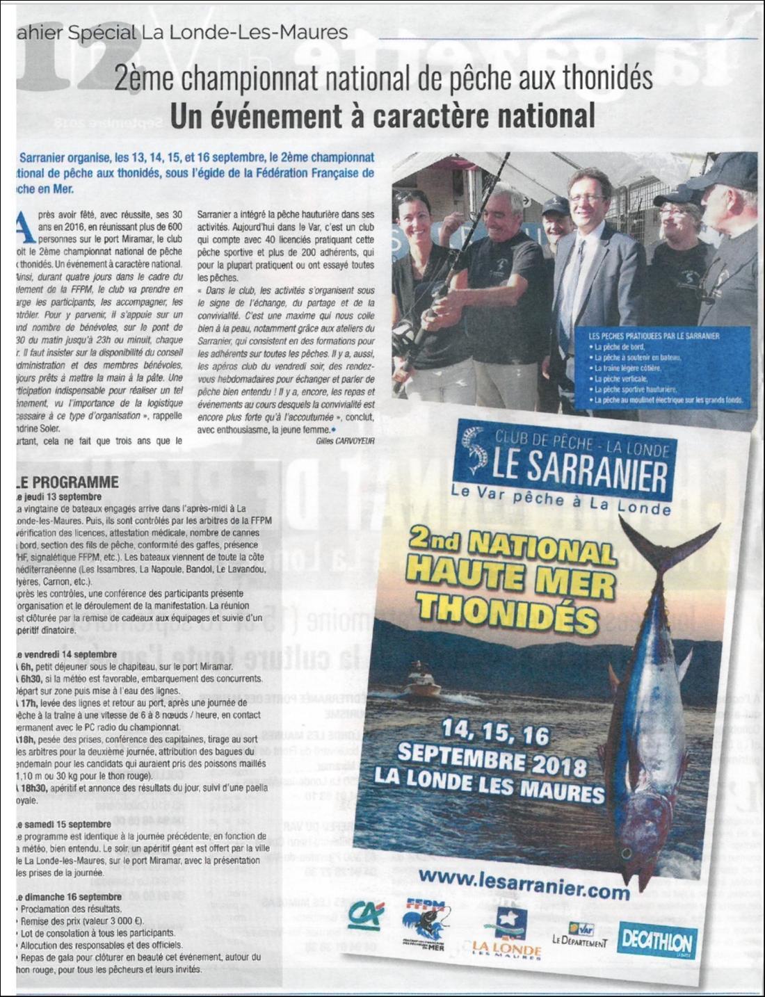 Le bulletin de La Londe annonce le National Thonidé